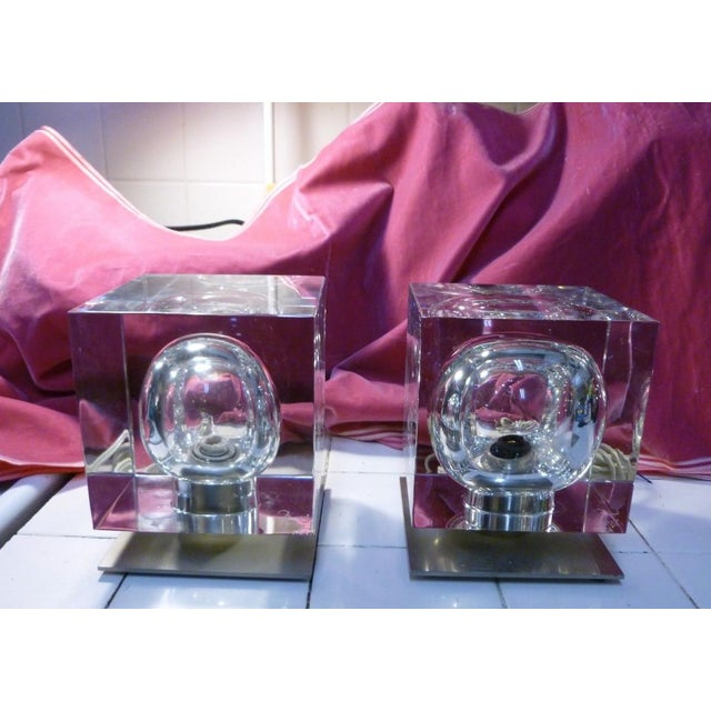 1970's Vintage Robert Rigot- P Baccarat Cube Lamps- A Pair For Sale - Image 9 of 10