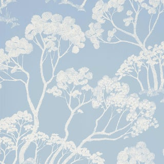 Sample - Schumacher Timber! Wallpaper in Cloud For Sale