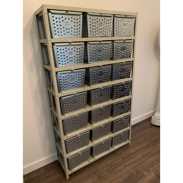 Vintage Industrial Swim and Gym Basket Lockers With Shelving For Sale - Image 9 of 11