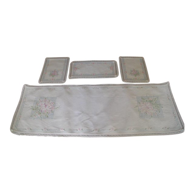Hand Embroidered Furniture Scarves - Set of 4 - Image 1 of 10
