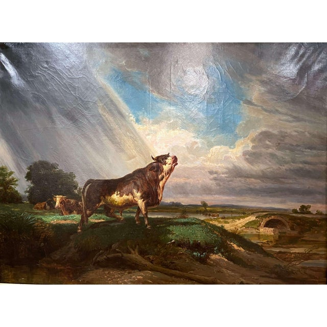 Set in the original carved gilt wood frame, this important oil on canvas painting was created in France, circa 1860. The...