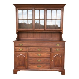 Henkel Harris Wild Black Cherry 2 Piece Hutch For Sale