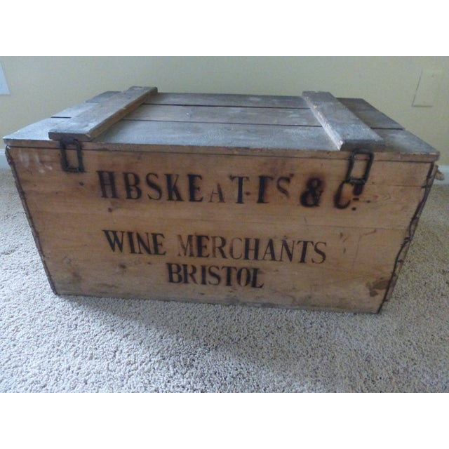 Vintage English Wooden Wine Crate For Sale - Image 7 of 9