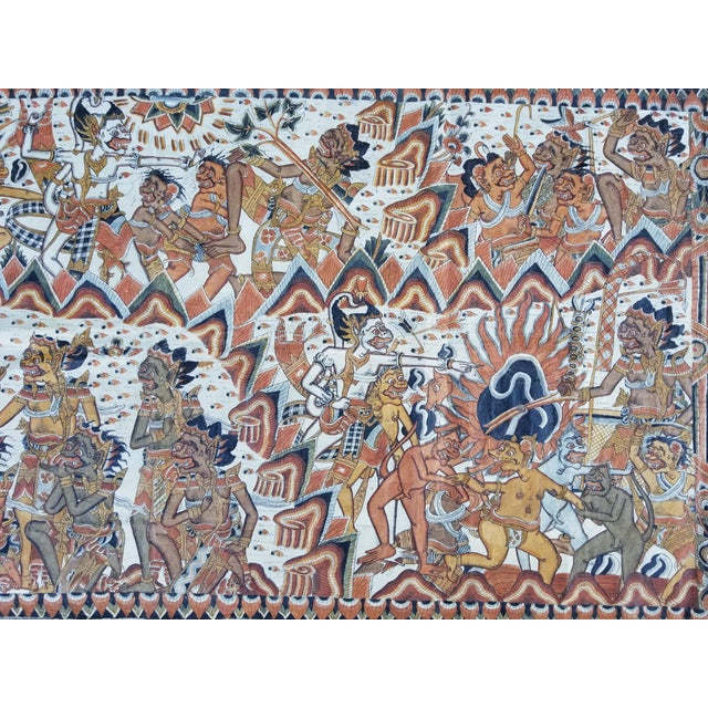 A large antique Burmese/Myanmar mythical devil/gargoyle painting. Intricatley Painted with many characters and great...