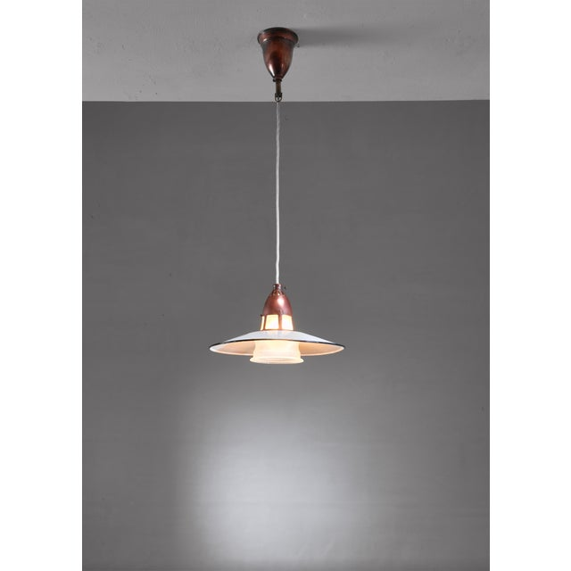 Mid-Century Modern Lyfa Metal, Copper and Glass Pendant, Denmark, 1930s For Sale - Image 3 of 5