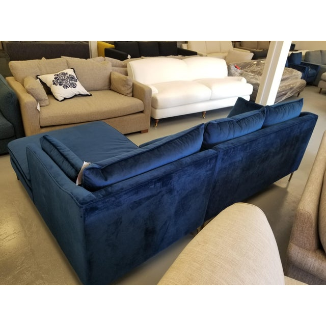Super Navy Blue Velvet Sectional Sofa With Right Chaise Onthecornerstone Fun Painted Chair Ideas Images Onthecornerstoneorg