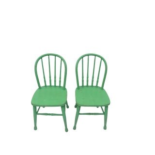 Antique Green Children's Windsor Chairs - A Pair For Sale
