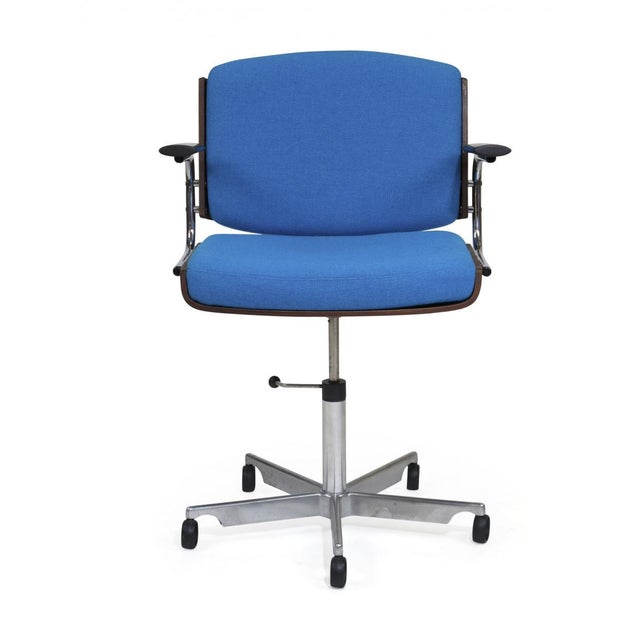Aluminum Danish Rosewood and Chrome Office Chair in Turquoise Wool For Sale - Image 7 of 10
