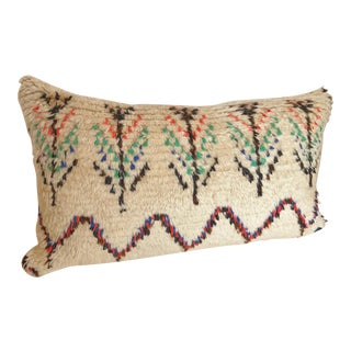 Custom Pillow Cut from a Vintage Moroccan Wool Azilal Rug For Sale