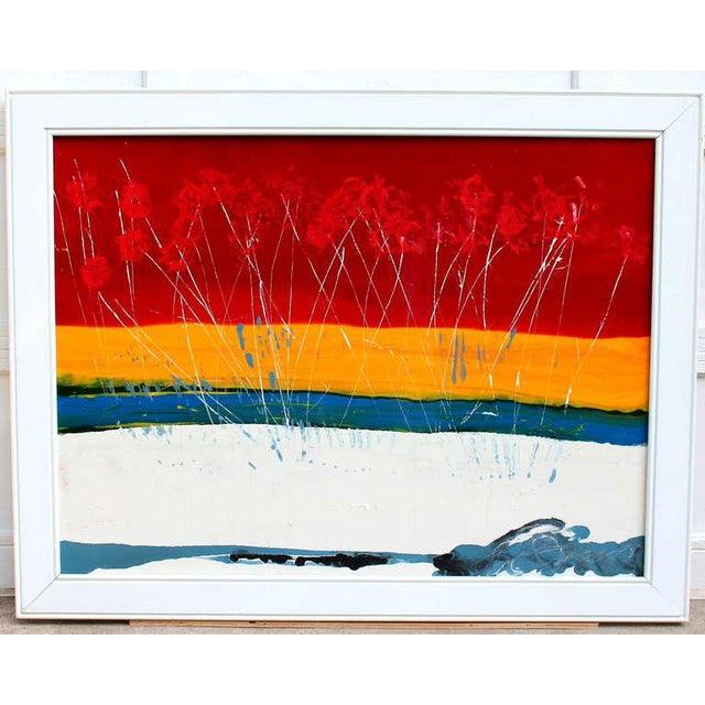 Large Vintage Expressionist Landscape Painting Signed Enamel on Board For Sale - Image 10 of 11