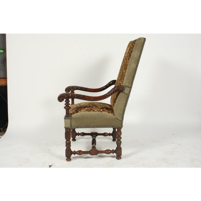 Green 1890s Renaissance Revival-Style Armchair For Sale - Image 8 of 10