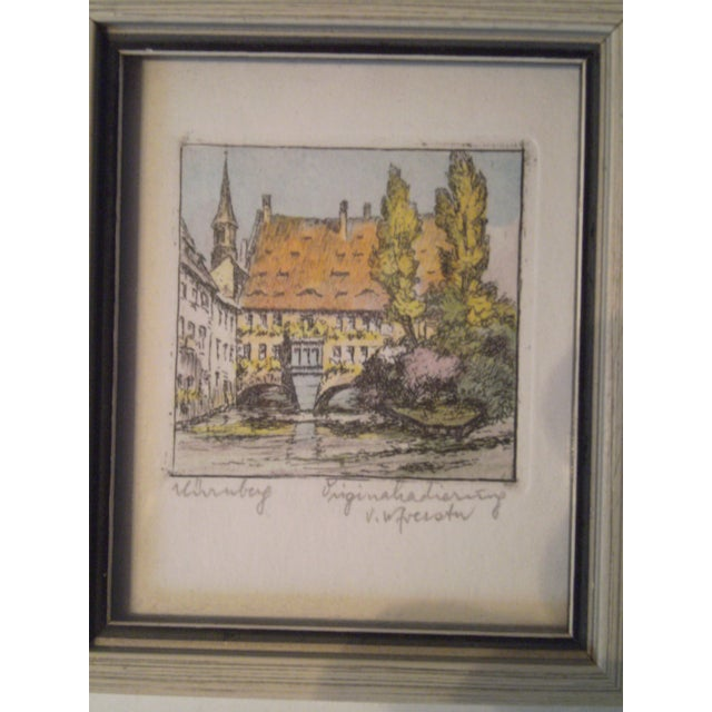 Vintage Small German Colored Etchings - Set of 4 - Image 5 of 10