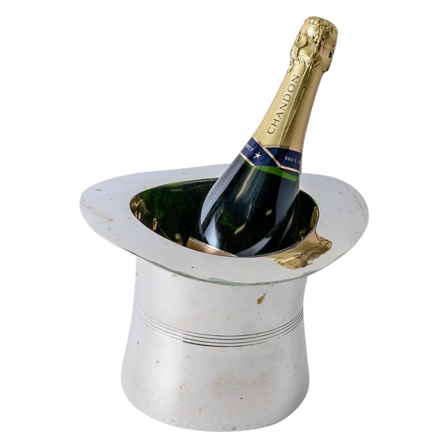 Silver Plated Top Hat Champagne Bucket by Godinger For Sale
