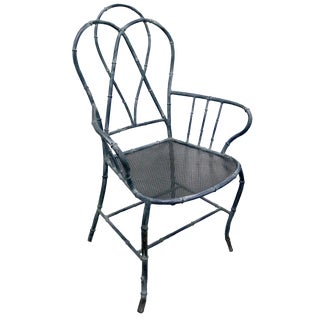 Chinoiserie Bamboo Style Metal Armchair