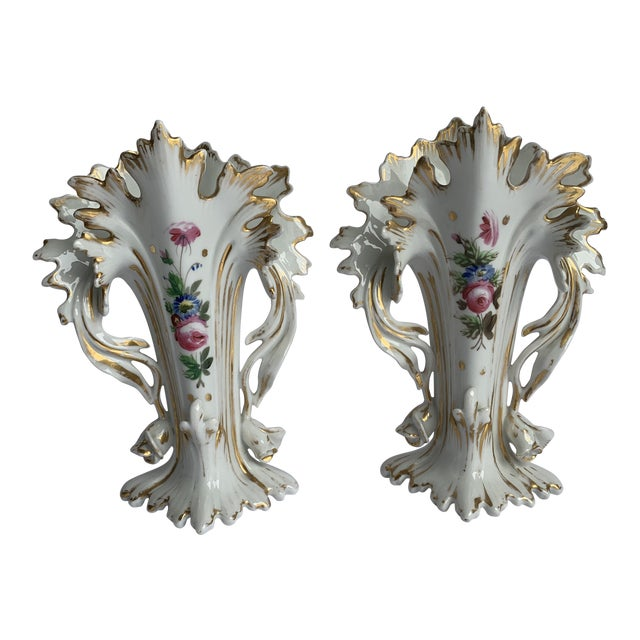 Antique Flower Vases - a Pair For Sale