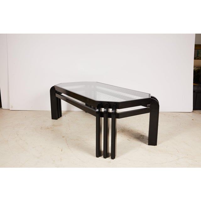 Mid-Century Modern Vintage Black Lacquer Cocktail Table With a Wired Glass Top For Sale - Image 3 of 13