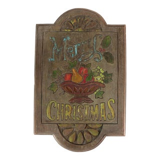 """1970's Hand Crafted Wooden """"Merry Christmas"""" Plaque For Sale"""