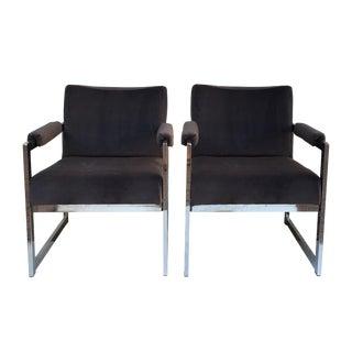 Vintage Modern Chrome & Grey Velvet Chairs - a Pair
