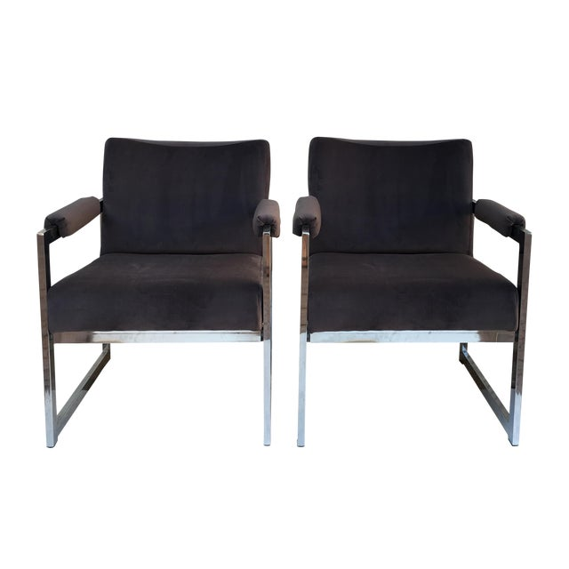 Vintage Modern Chrome & Grey Velvet Chairs - a Pair - Image 1 of 6