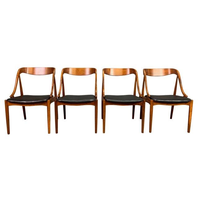 1960s Vintage Johannes Andersen Danish Modern Walnut Dining Chairs- Set of 4 For Sale