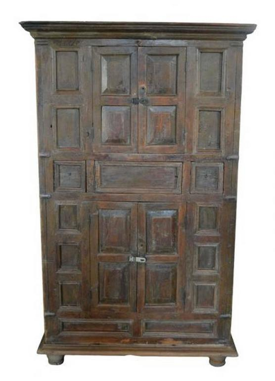 Rustic Indian Wood Cabinet with Five Hand Carved Doors Mid-19th Century - Image  sc 1 st  Decaso & Exceptional Rustic Indian Wood Cabinet with Five Hand Carved Doors ...