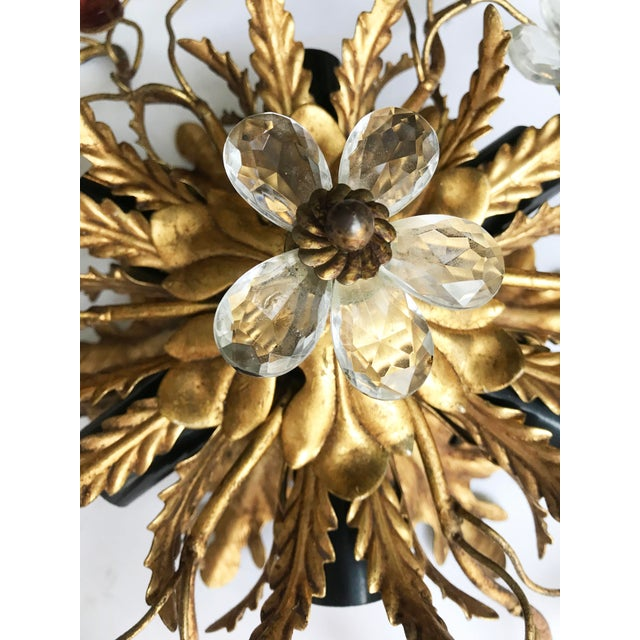 Pair of very elegant Maison Bagues flush mount. Paris, France Circa 1950 gilded metal and colored glass ornementation. 6...
