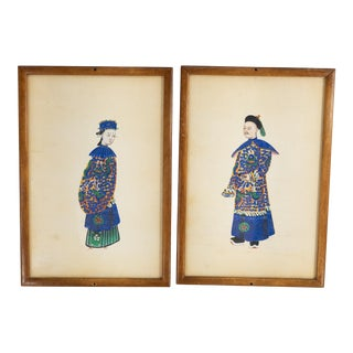 Early 20th Century Chinese Export Watercolor Paintings on Pith Paper, Framed - a Pair For Sale