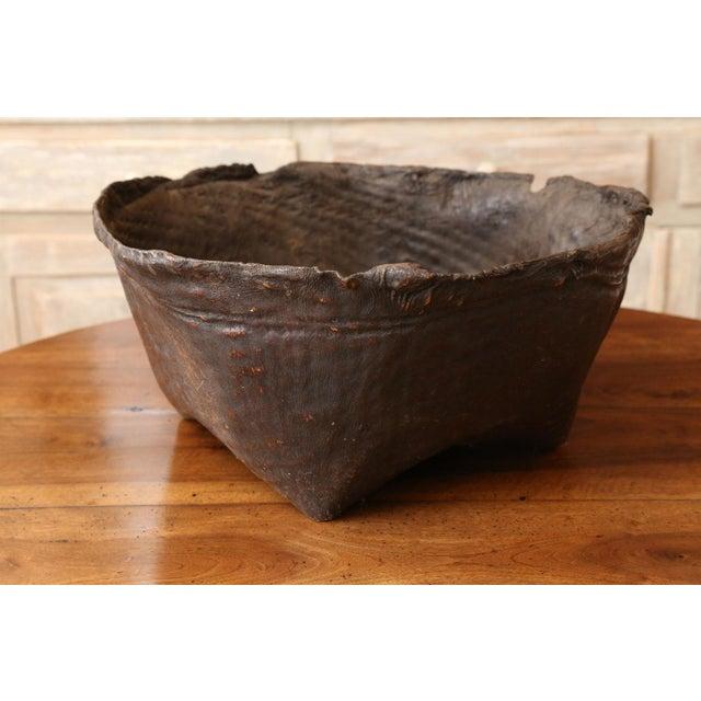 Folk Art Antique Primitive Hide Basket For Sale - Image 3 of 11
