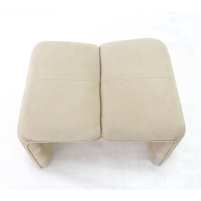 White Beige Suede Leather Lounge Chair with Matching Ottoman For Sale - Image 8 of 10