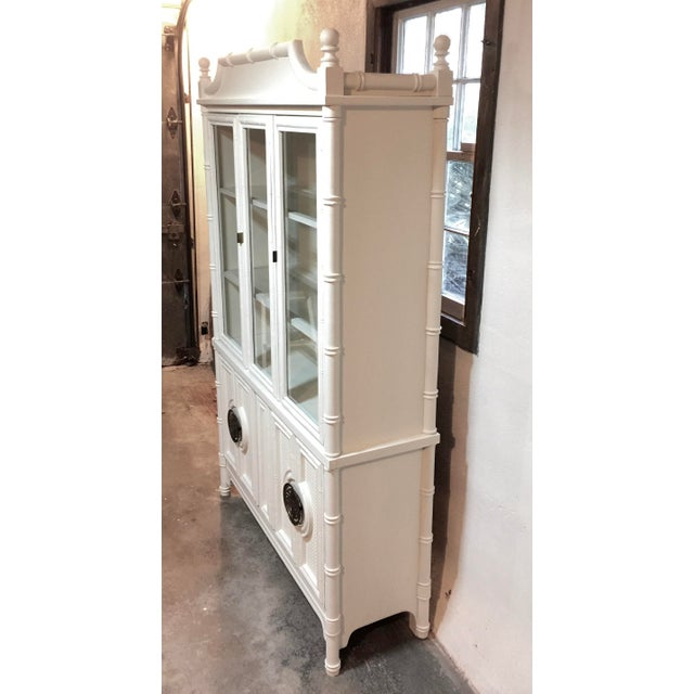 White Chinoiserie Faux Bamboo Painted China Cabinet For Sale - Image 8 of 10