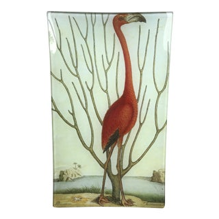 Tropical Decoupage Glass Plate-Coral-Pink Flamingo Glass Tray For Sale