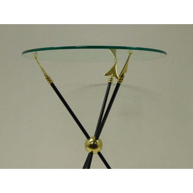 Mid-Century Modern Vintage Iron & Brass Arrow Bouillotte Drinks Lamp Table For Sale - Image 3 of 8