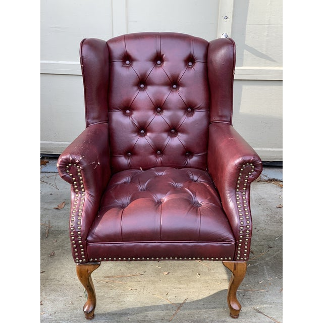 1990s Vintage Faux Leather Burgundy Chairs- A Pair For Sale - Image 4 of 8