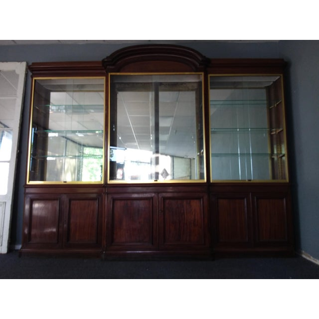Antique Rosewood Shop Display Case With Miiror and Glass For Sale - Image 4 of 11