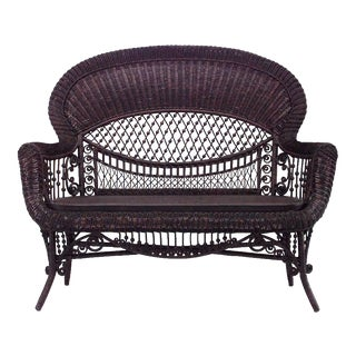 American Victorian Natural Wicker Settee For Sale
