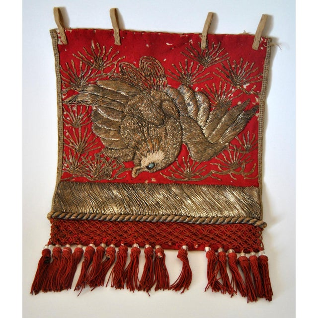 Metal 19th Century Antique Japanese Sumo Wrestler's Ceremonial Apron Kesho Mawashi With Golden Eagle For Sale - Image 7 of 7