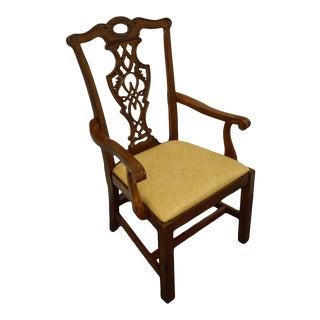 Bassett Furniture Cherry Traditional Chippendale Style Dining Arm Chair For Sale