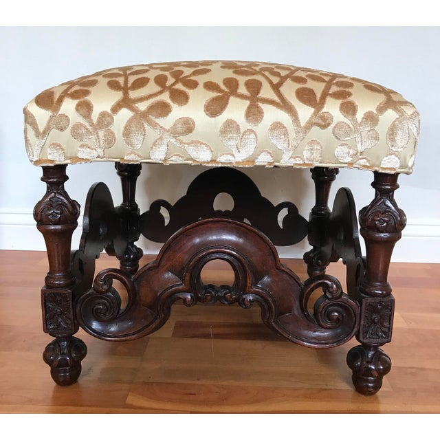 Pretty pair of Jacobean style footstools recently reupholstered in Beacon Hill Summer Sonata woven of Cotton and Silk...