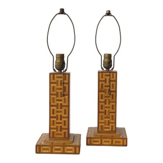 Vintage Wood Parquetry Geometric Table Lamps, a Pair, Circa 1940s For Sale