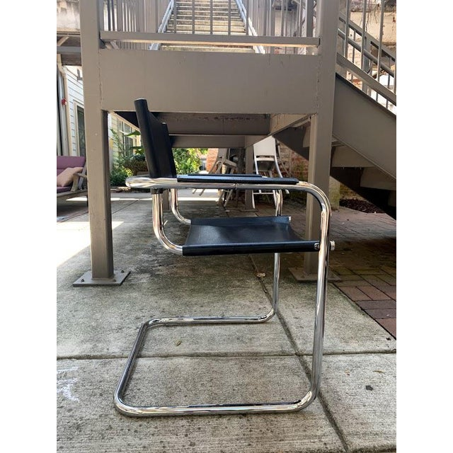 Mid-Century Modern Mart Stam Chrome & Black Cantilever Chairs With Dining Table Set - 5 Pieces For Sale In Atlanta - Image 6 of 9