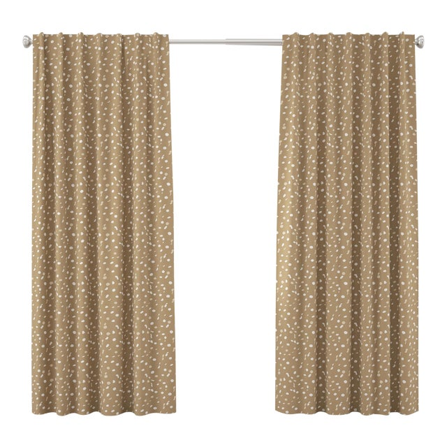 """108"""" Blackout Curtain in Camel Dot by Angela Chrusciaki Blehm for Chairish For Sale"""