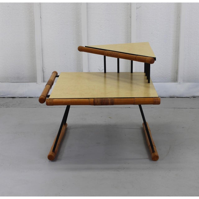 Mid-Century Modern Unique Mid-Mod Rattan & Iron Corner Table 121a For Sale - Image 3 of 5