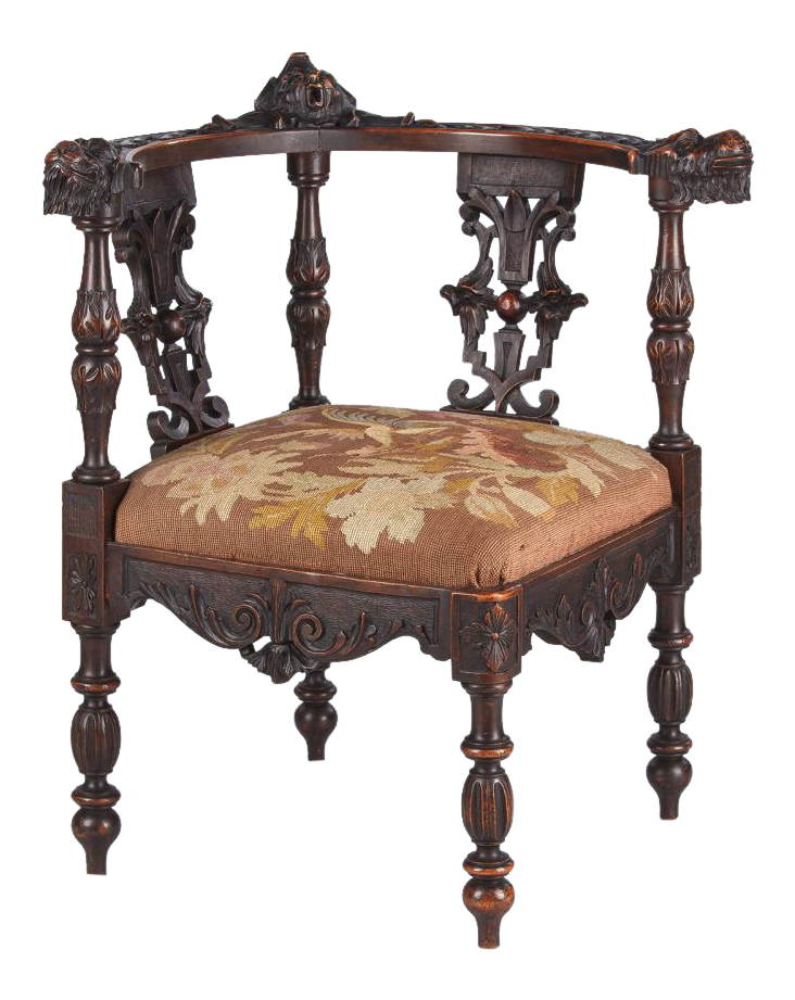 French Renaissance Carved Walnut Corner Chair, Late 1800s For Sale