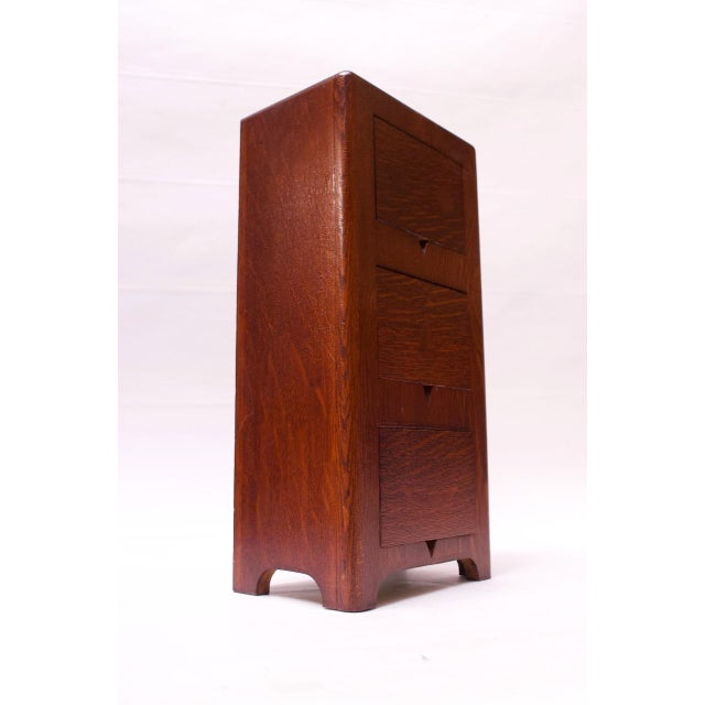 Art Deco Hand Carved Mahogany Three-Drawer Jewelry Chest / Storage Compartment For Sale - Image 9 of 13