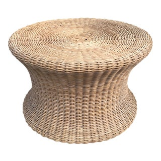 Vintage Mid-Century Eero Aarnio Wicker Rattan Ottoman Foot Stool For Sale