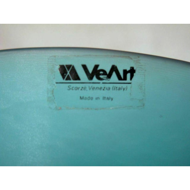 Mid 20th Century Mid 20th Century Venezia Italian Murano Art Glass Bright Blue Bowl by VeArt For Sale - Image 5 of 7