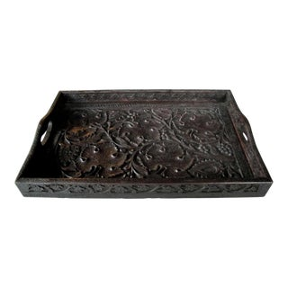 A Well-Carved German Black Forest Rectangular Wooden Tray For Sale