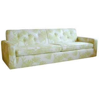 Circa 1950 Mid-Century t.h. Robsjohn-Gibbings Cream and Green Custom Wan Sofa
