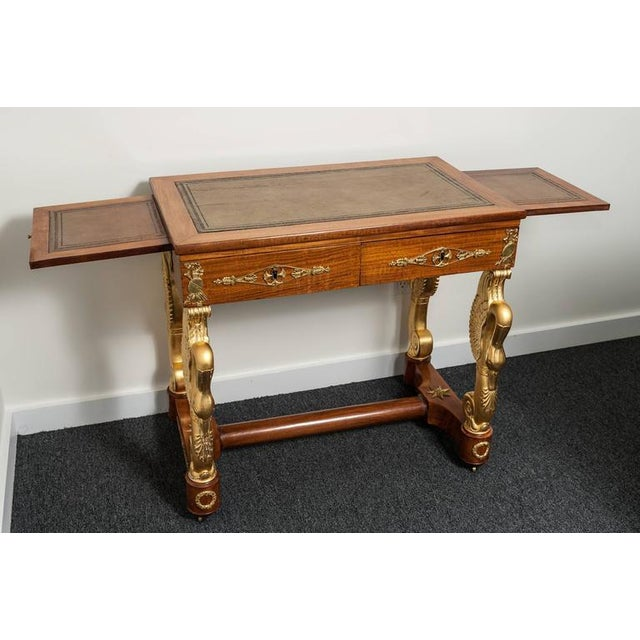 19th Century French Empire Mahogany and Giltwood Dressing Table-Writing Desk For Sale - Image 9 of 10