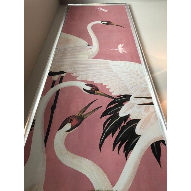 Light Pink Custom Gucci Pink Heron Crane Wallpaper Mural Panels - a Pair For Sale - Image 8 of 9
